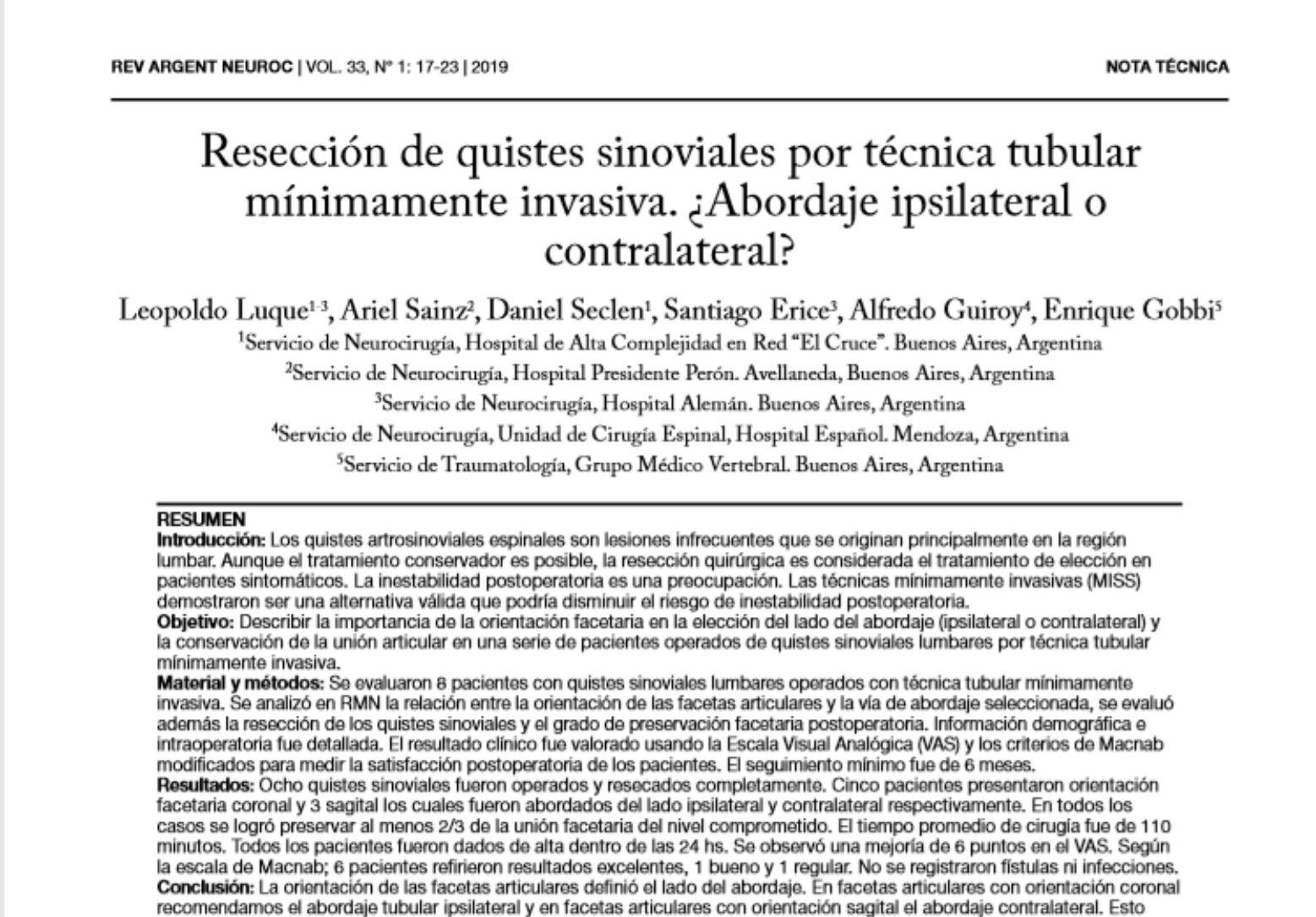Resección de quistes sinoviales por técnica tubular mínimamente invasiva