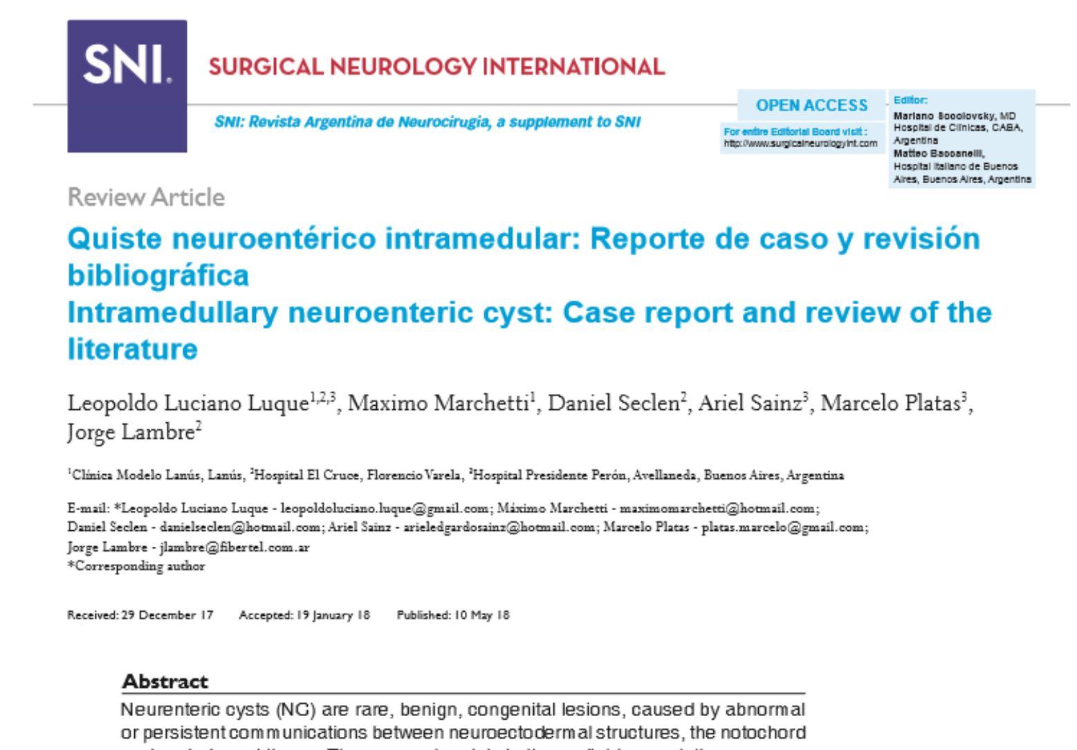 quiste neuroentérico intramedular